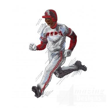 Running To Base Baseball Embroidery Design