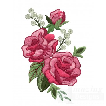 Pink Rose Group Embroidery Design