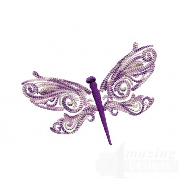 Full Wing Fanciful Dragonfly Embroidery Design