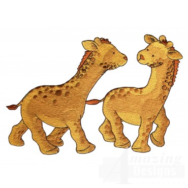 Two Giraffes Welcome Home Embroidery Design