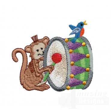 Drum Monkey My Circus Book Embroidery Design