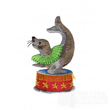 Balancing Seal My Circus Book Embroidery Design