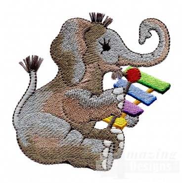 Musical Elephant My Circus Book Embroidery Design