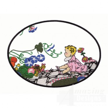 Child on Blanket with Flowers