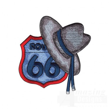 Route 66 With Coyboy Hat