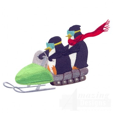 Penguins On Snowmobile
