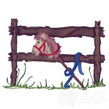 Stick Horse On Fence