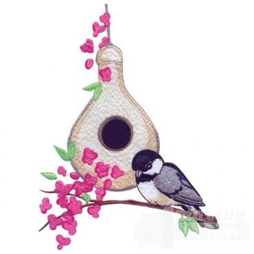 Chickadee And Birdhouse