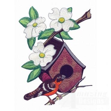 Grosbeak And Birdhouse