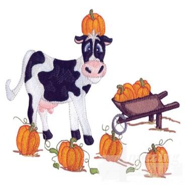 Cow In Pumpkin Patch