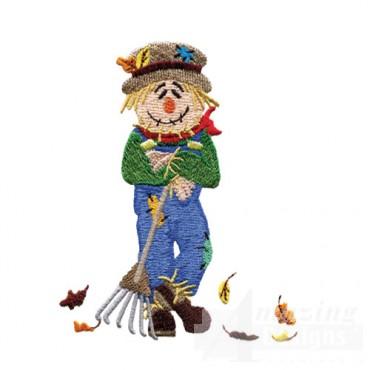 Scarecrow Raking Leaves