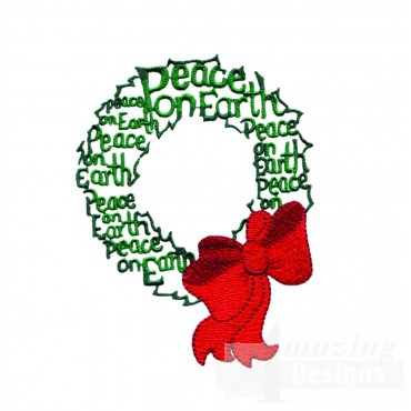Peace On Earth Wreath Embroidery Design