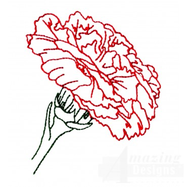 Single Carnation Dianthus Embroidery Design