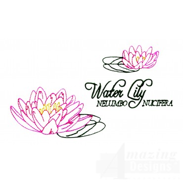 Large Water Lily Embroidery Design