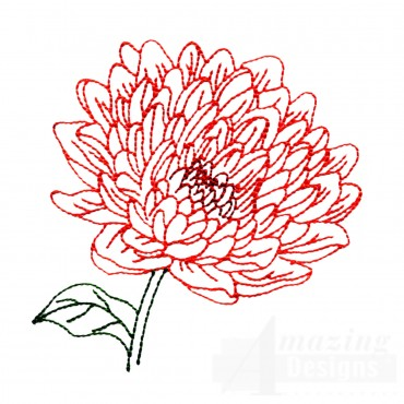 Single Chrysanthemum Indicum Embroidery Design