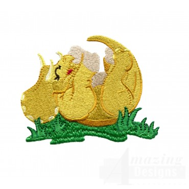 Tickled Triceratops Embroidery Design