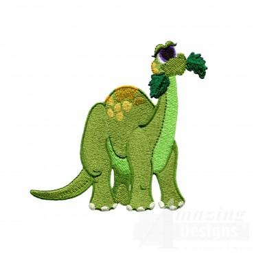 Snacking Brontosaurus Embroidery Design