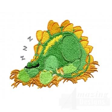 Sleeping Stegosaurus Embroidery Design