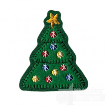 Christmas Tree Brooch Embroidery Design
