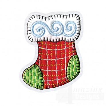 Christmas Stocking Brooch Embroidery Design