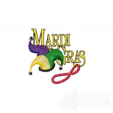 Mardi Gras Hat And Beads Embroidery Design