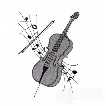 Cello Embroidery Design