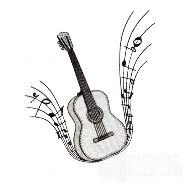 Guitar 2 Embroidery Design