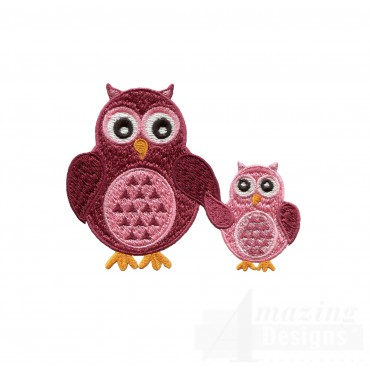 Parent And Kid Owl Embroidery Design
