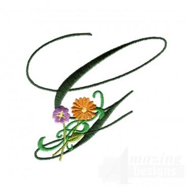 Letter G Floral Monogram Embroidery Design