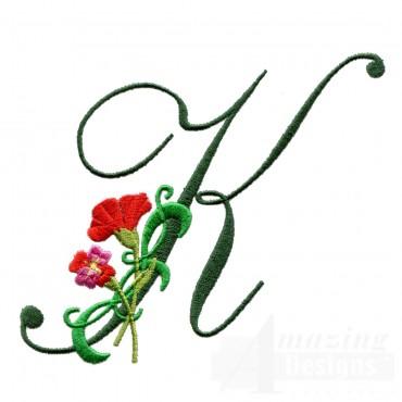 Letter K Floral Monogram Embroidery Design