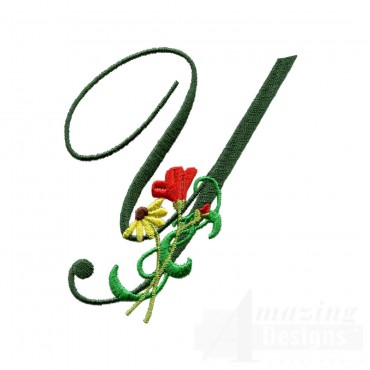 Letter Y Floral Monogram Embroidery Design