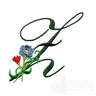 Letter Z Floral Monogram Embroidery Design