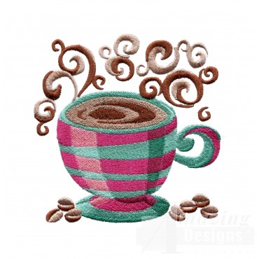 Coffee With Steam Embroidery Design