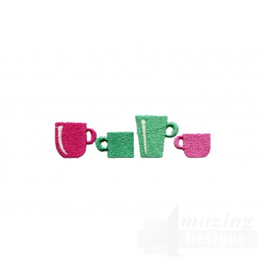 Coffee Cup Border Embroidery Design