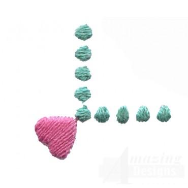 Decorative Heart Corner Folk Art Embroidery Design