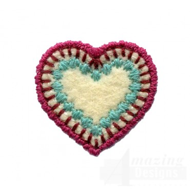 Small Bordered Heart Folk Art Embroidery Design