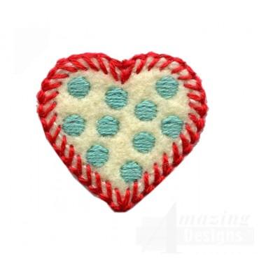 Small Polka Dot Heart Folk Art Embroidery Design