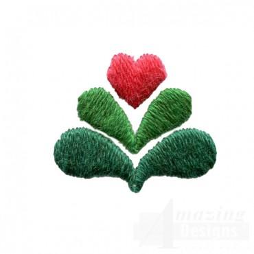 Decorative Heart Plant Folk Art Embroidery Design