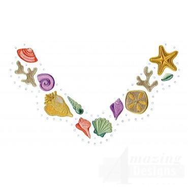 Seashell Jeweled Neckline Embroidery Design