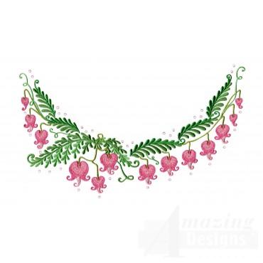 Bleeding Hearts Jeweled Neckline Embroidery Design