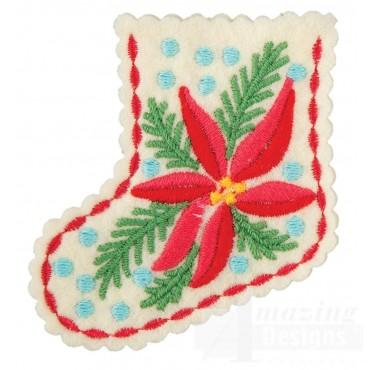 Poinsettia Stocking Ornament Embroidery Design