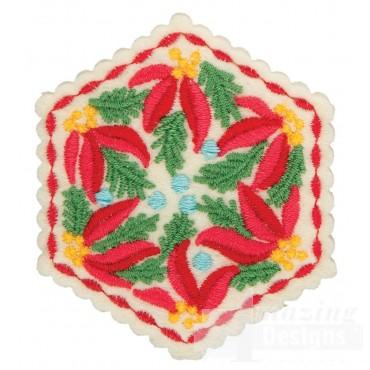 Poinsettia Hexagon Ornament Embroidery Design