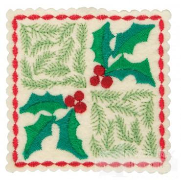 Holly Checkered Square Ornament Embroidery Design