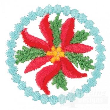 Small Poinsettia Circle 2 Ornament Design
