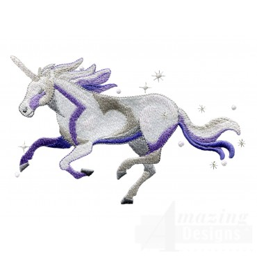Running Free Purple Unicorn Embroidey Design