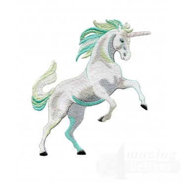 Rearing Teal Unicorn Embroidey Design
