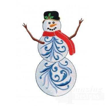 Iridescent Snowman 17 Embroidery Design