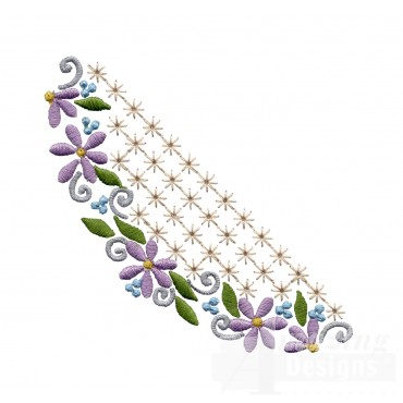 Flowering Eyelet Half Oval Embroidery Design