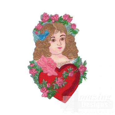 Woman with Heart and Flowers