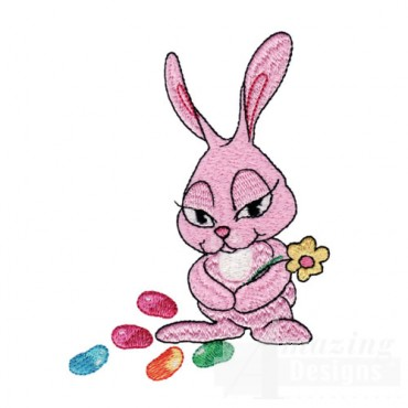 Pink Easter Bunny with Flower